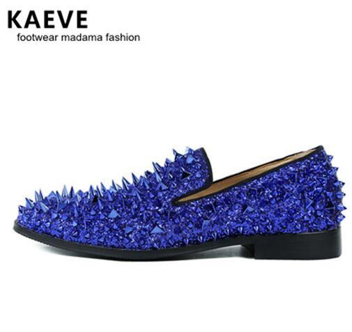 Kave High Quality Slip-on Loafers EU39-EU46 Men Glitter Spiked Shoes Royal Blue Dandelion Flats Wedding Shoes for Men Men