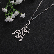 цена на My Shape Stainless Steel Cut Out Cute Monkey Geometric Hollow Pendant Necklace For Gift