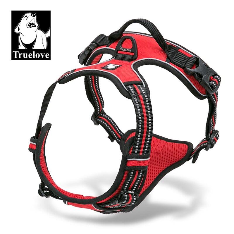 Truelove Vordere Bereich Reflektierende Nylon große haustier Hund Harness Alle Wetter Padded Einstellbare Sicherheits Vehicular führt für hunde pet