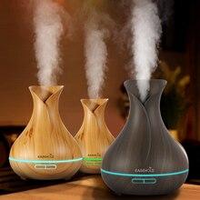 EASEHOLD Apuramento 400ml Elétrica Aroma Difusor Óleo Essencial Umidificador de Ar Ultra Grão de Madeira 7 Luz LED Cor Mudar