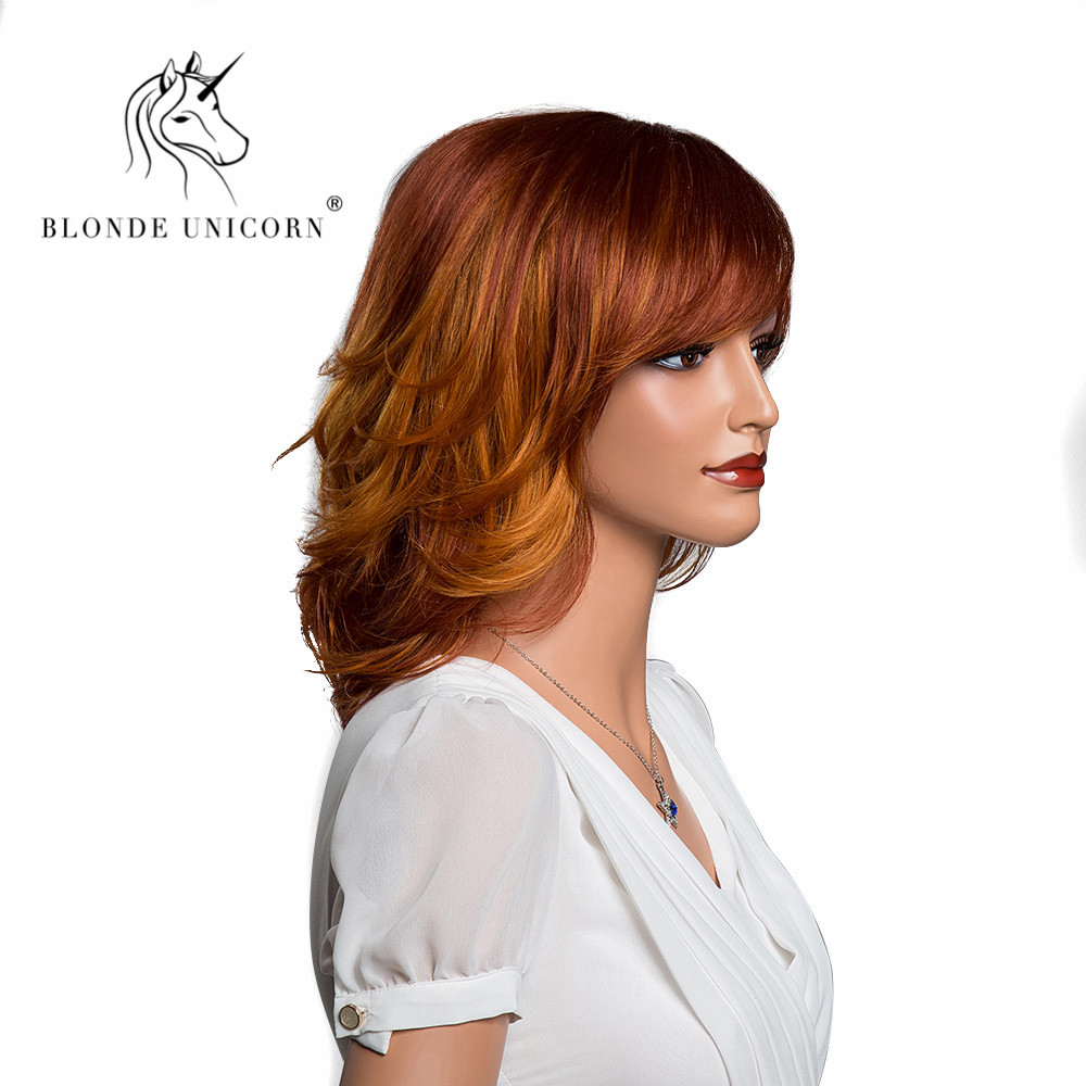 BLONDE UNICORN 12 Inch Ombre Natural Wave Wig with Side Fringe Brown Color with Highlights Cosplay Wig for Women Free Shippping