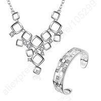 JEXXI Elegant Pure 925 Sterling Silver Woman Bangle Bracelet Necklace Jewelry Set Exquisite Crystal Vintage Party