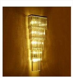 120cm XL nowoczesny luksusowy kryształowy Bar oświetlenie Led kinkiet do domu Hotel Lobby oprawy ścienne willa projekt duży kryształ Lampara