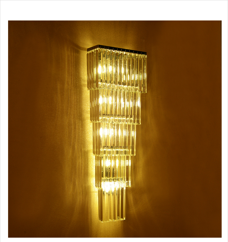Modern 60-120cm long crystal wall lamp for Hotel Lobby Villa Foyer project Penthouse Floor large crystal Lighting Led Luminaire