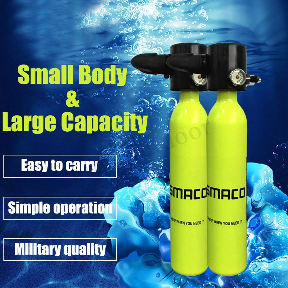 1Pcs 0.5L Mini Scuba Mini Diving Equipment Underwater Breathing Apparatus Yellow Oxygen Cylinder Reusable High Quality