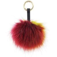 1PC Multicolor Faux Fox Fur Pompom Ball Leather Key Ring Keychain Cell Phone Charms
