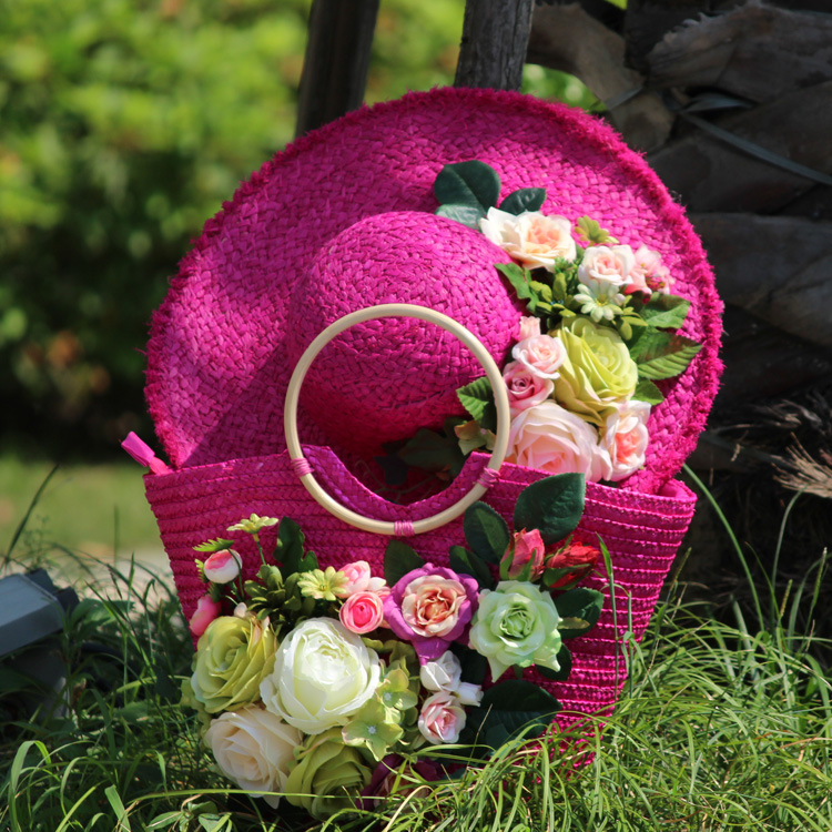 Red rose, straw hat, flower straw hat, holiday photo, Summer Beach Beach Hat and handbag. dg0091 rounding top hat beach hat coffee
