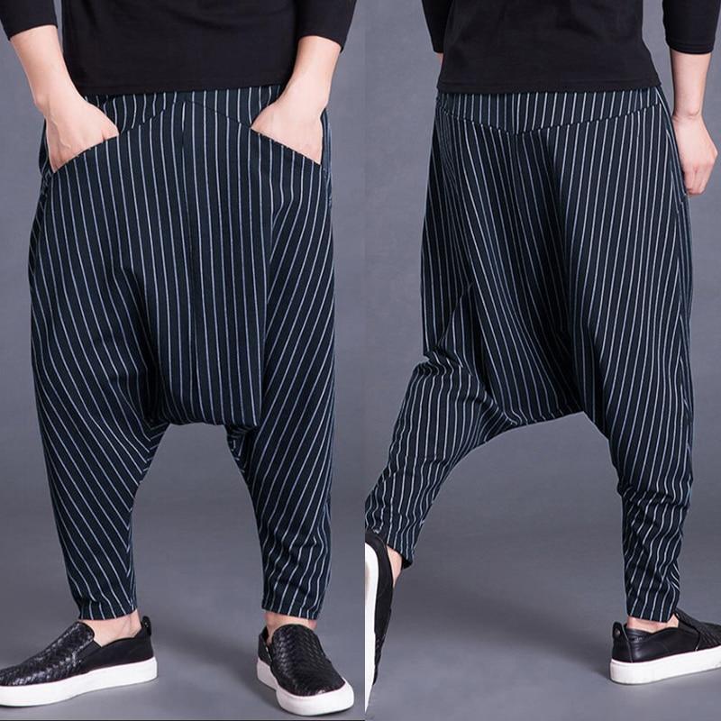 INCERUN Harem Pants Men Hiphop 5XL Cross-pants Drop Crotch Striped Pockets Sweatpants Baggy Fashion Trousers Hombre Pantalon
