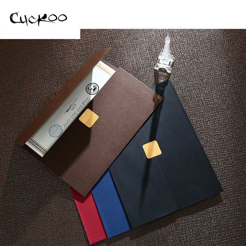 CUCKOO 1pcs Certificate Document Paper Envelope Novelty Dignified Elegant Three Folding File Sets Hot Stamping Sliver Paper