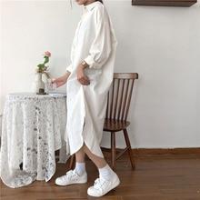 Винтажное осеннее длинное платье, рубашка с длинным рукавом и отложным воротником, женская Свободная рубашка, повседневное модное платье макси, хлопковое, голубое, белое