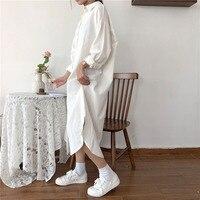 Винтажное осеннее длинное платье с длинным рукавом, с отложным воротником, женская Свободная рубашка, повседневное модное платье макси из х...