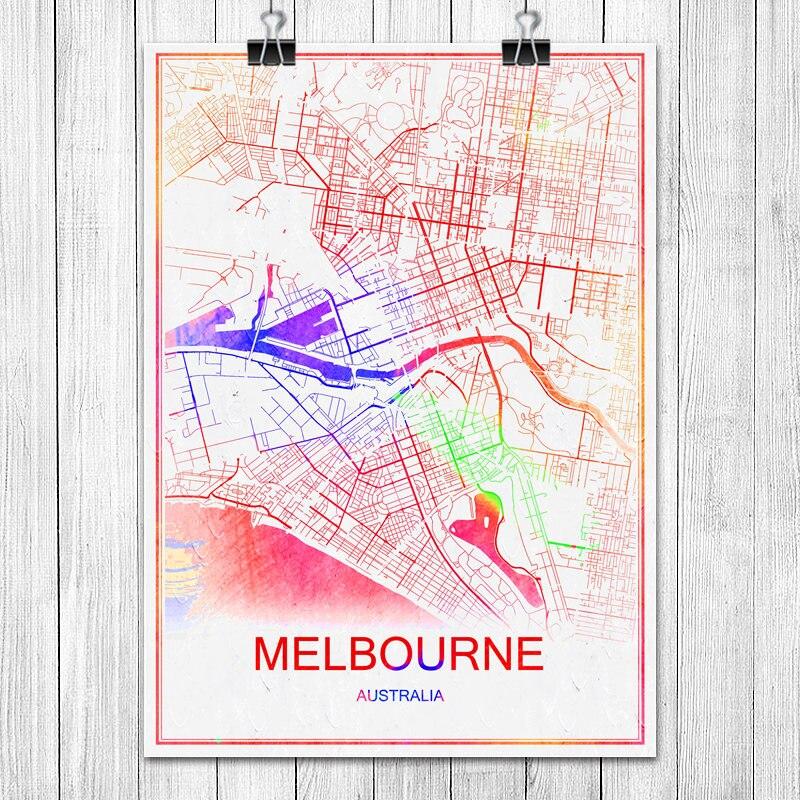Melbourne Australia City Map.Melbourne Australia Colorful World City Map Print Poster Abstract