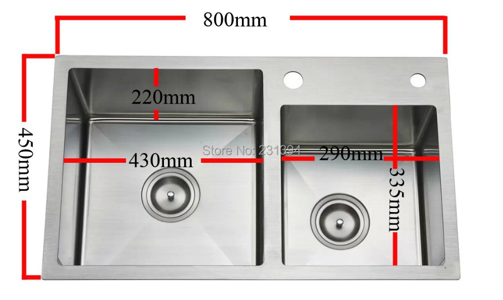 aliexpresscom buy 800450220mm stainless steel undermount kitchen sinks sets double bowl drawing double drainer handmade seamless welding sink from - Double Drainer Kitchen Sink