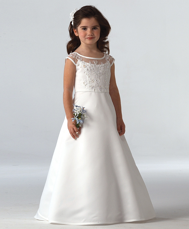 2017 New   Flower     Girl     Dresses   Ball Gown O-neck First Communion Princess   Dresses   Hot SaleVestidos Longo Custom Make HW1080