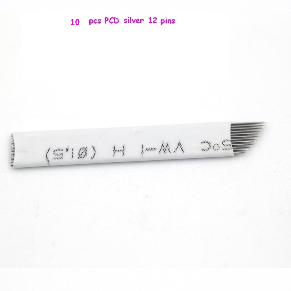 10 Adet Pcd 12 Pin Kalc Makyaj Ka Dvme Blade Microblading Sablon Thailand 12mm Neler Iin 3d Nak Manuel Kalem Makinesi