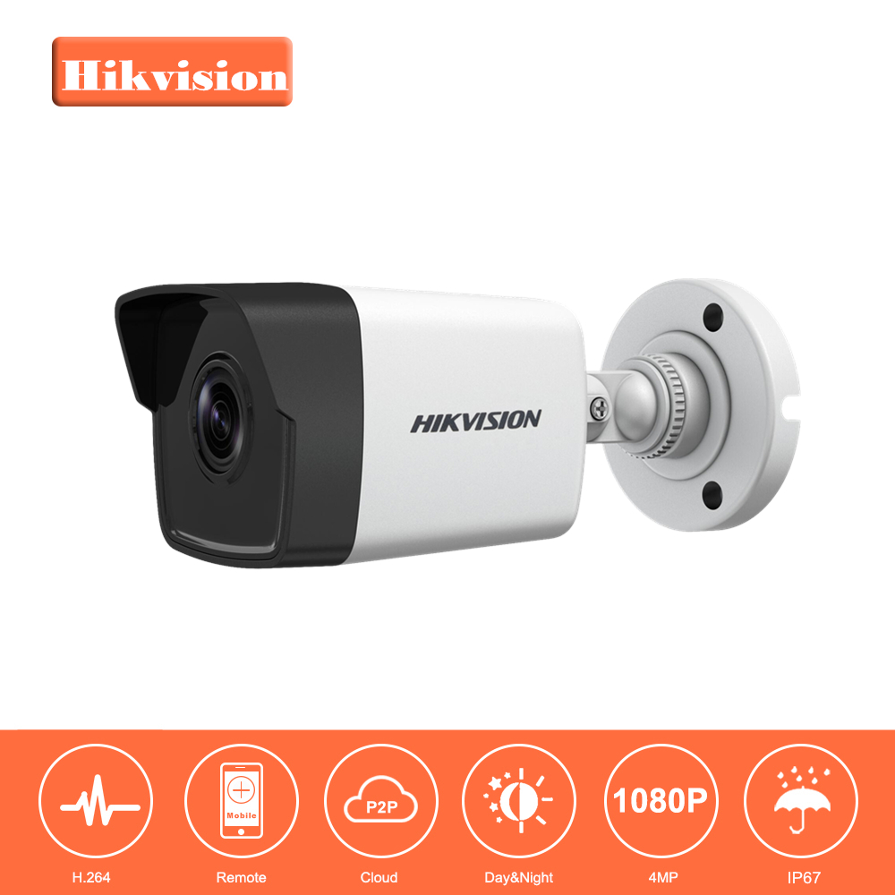 In Stock Hikvision 1080P Full HD Security IP Camera Onvif DS-2CD1041-I 4.0 Megapixels CMOS Network Bullet IP Camera 30m IR original hikvision 1080p waterproof bullet ip camera ds 2cd1021 i camera 2 megapixel cmos cctv ip security camera poe outdoor