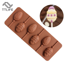 TTLIFE 6 Holes Easter Eggs 3D Silicone Molds Sugar Pastry Chocolate Bakery Moulds Cupcake Dessert Fondant Cake Decorating Tools