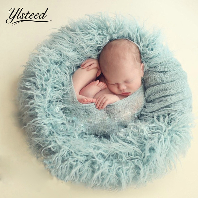 100x160cm baby photography props newborn basket pack filler faux fur