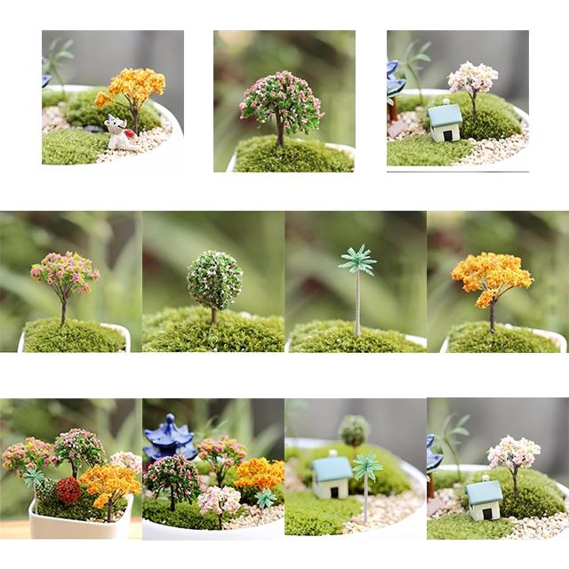10pcs Miniature Dollhouse Fairy Garden White Floral Bench Flower Pot Decor