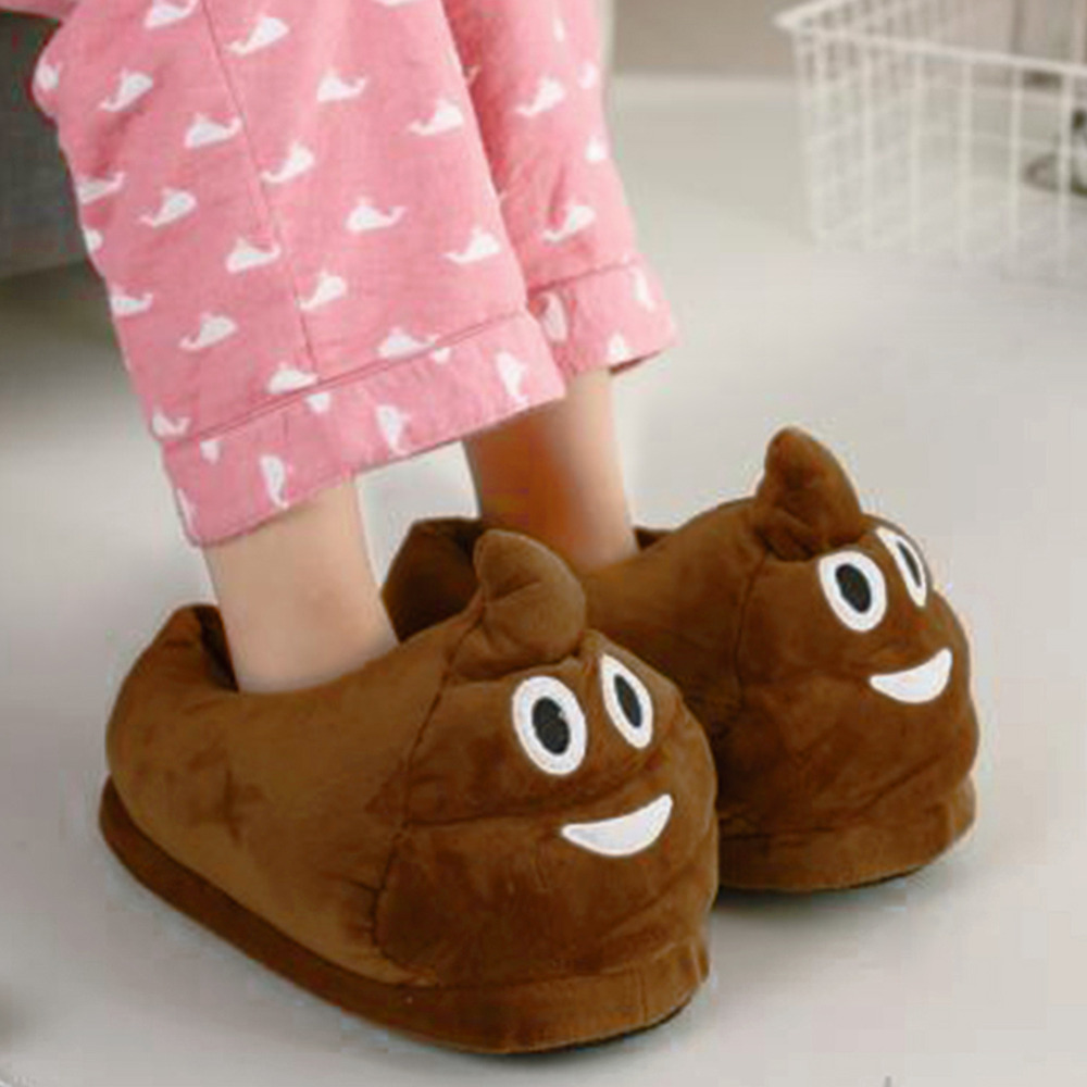 New Creative Poo Fluffy Pattern Slippers Warm Autumn Winter Warm Shoes Women Slippers For Women Use Indoor Slipper House Shoes slipper