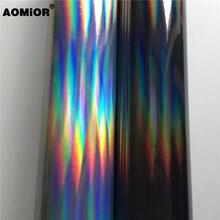 Film holographique en vinyle, noir, argent, or, irisé, Chrome, en rouleau, téléphone sans bulles, pour voiture, tapis dordinateur portable