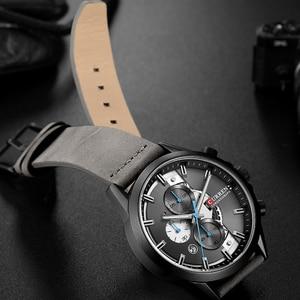 Image 3 - Curren Mens saatler üst marka lüks Chronograph erkekler İzle deri lüks su geçirmez spor İzle erkekler erkek saat adam kol saati
