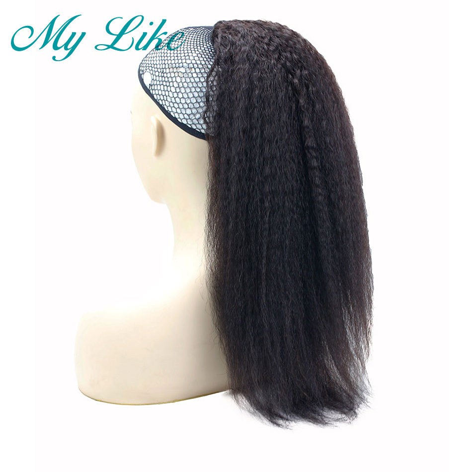 kinky straight hair ponytail 1