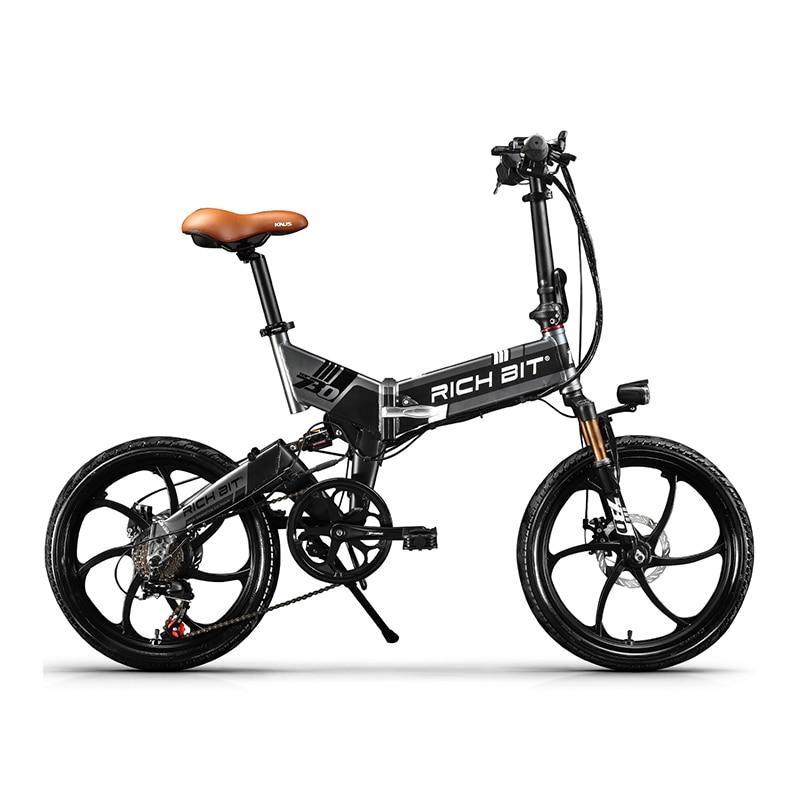 RichBit Nouvelle ebike 48 v 8Ah Batterie Cachée Pliage Vélo Électrique 7 Vitesse Intégré Jante Vélo Électrique Vtt bicicleta eletrica
