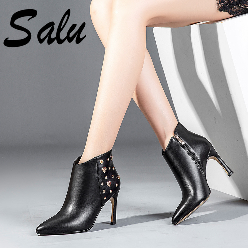 Salu Fashion Women Ankle Boots Genuine Leather Autumn Winter Warm High Heels Shoes Pointed Toe Elegant Office Lady Shoes WomanSalu Fashion Women Ankle Boots Genuine Leather Autumn Winter Warm High Heels Shoes Pointed Toe Elegant Office Lady Shoes Woman