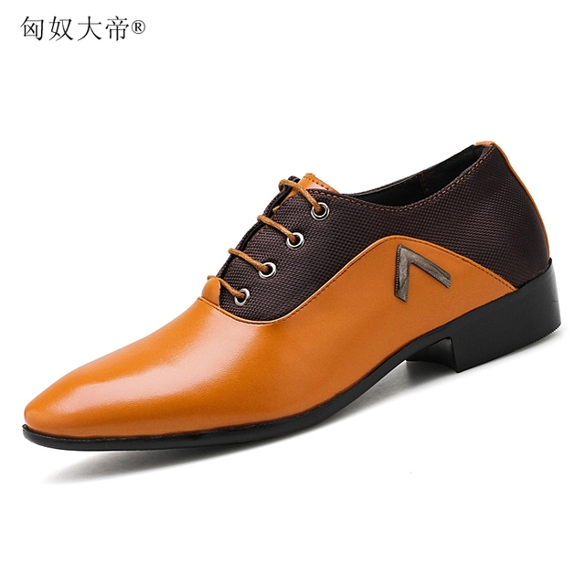 6843fe19bc US $20.2 57% OFF|Men Leather Dress Shoes Men's Black Brown Camel Oxford  Shoes Formal Office Business British Lace up Man Wedding Shoe-in Formal  Shoes ...