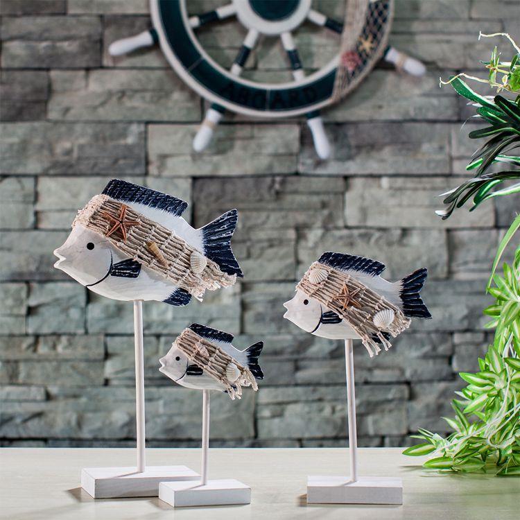 Diy Ocean Series Wooden Crafts Gift Three Piece Tropical Fish Figurine Mediterranean Home Decoration Furnishing Articles