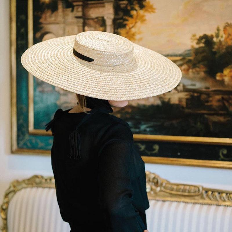 c14aa8d37851 2018 Women Natural Wheat Straw Hat Ribbon Tie 15cm Brim Boater Hat Derby Beach  Sun Hat Cap Lady Summer Wide Brim UV Protect Hats
