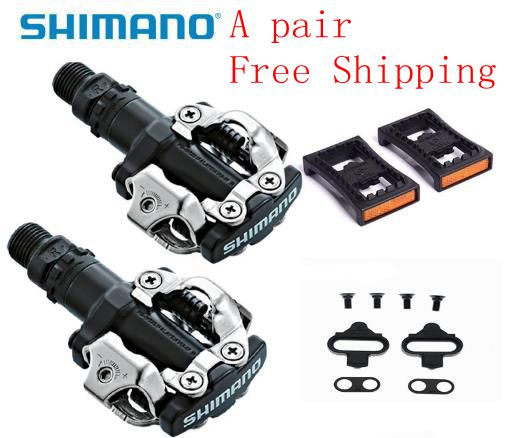 SHIMANO PD-M520 MTB BIKE SPD PEDALS SILVER With Cleats