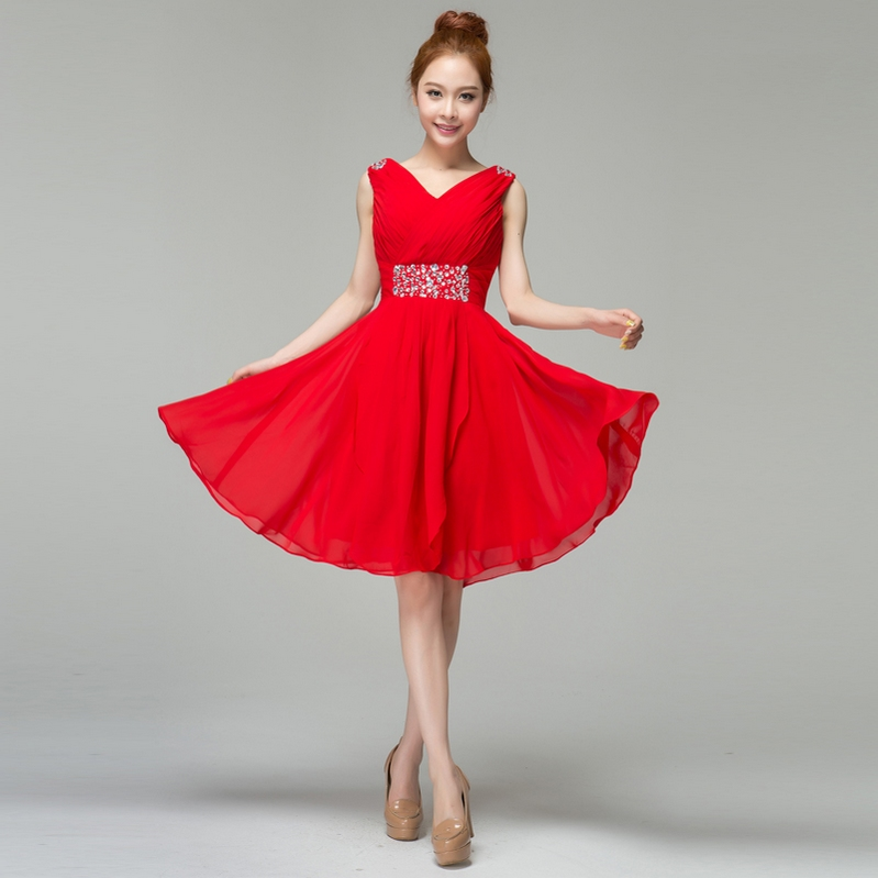 2013 Wedding Dress Bride Evening Dress Slit Neckline Short Design Red Evening Dress Bridesmaid