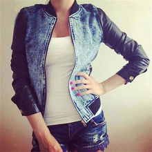 Fashion Women Punk Casual Denim Pu Long Sleeve Slim Jacket Outwear Coat Top Size S-XL