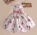 New Hot Pink Flower Baby Girls Dress Tribute Silk Princess Kids Dresses for girl clothes party Size 1-5Y kinderkleding meisjes