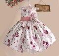 Nuevo color de Rosa Caliente Niñas se Visten de Flores de Seda Homenaje Princesa Vestidos de Los Cabritos para party girl ropa de Tamaño 1-5Y kinderkleding meisjes