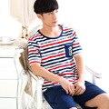 Marca verão Homewear conjuntos de Pijama Listrado Dos Homens Casual Masculino O-pescoço Colarinho da camisa & meia calça de Algodão sleepwear Terno 051