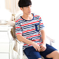 Summer Brand Homewear Men Casual Striped Pajamas sets Male O-neck Collar shirt & half pants Cotton sleepwear Suit 051