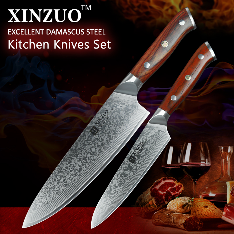 XINZUO 2PCS Chef Kitchen Knife Set Japan VG10 Damascus Steel Chef Utility Knives Rosewood Handle Best