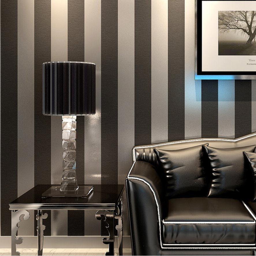 Purple And Silver Bedroom Aliexpresscom Buy Modern Black Wallpaper Striped Purple And