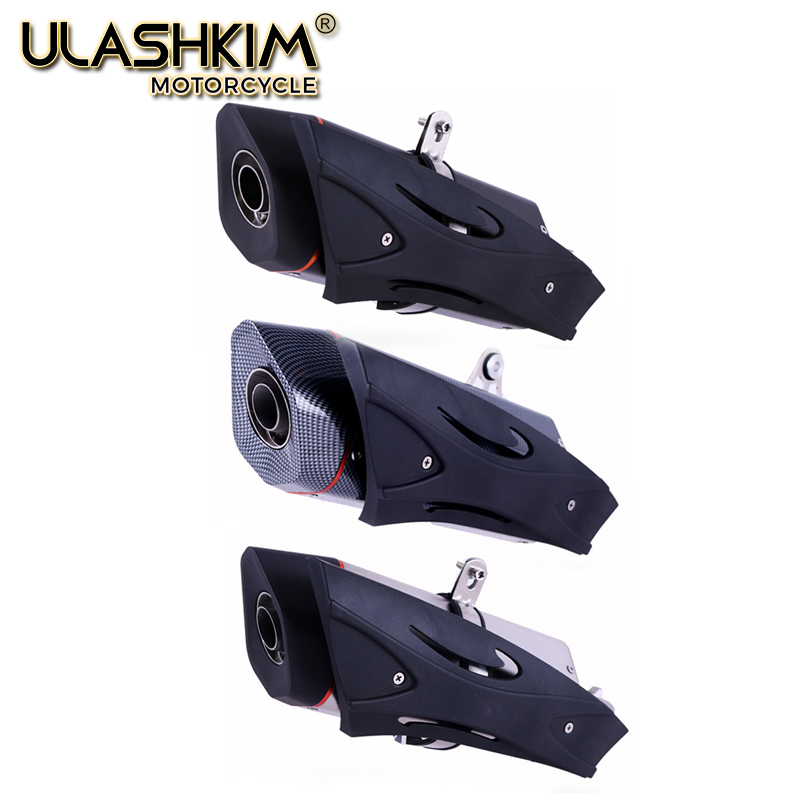 Universal Motorcycle Carbon Fiber Exhaust Muffler Escape with DB-Killer For Most Motorbike Add More Power