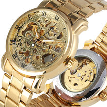 цена на 2019 Skeleton Mechanical Watch Luxury Golden Stainless Steel Automatic Mechanical Watches Luminous Hands zegarek
