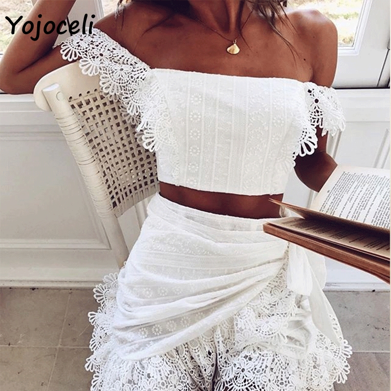 Yojoceli 2019 summer lace crochet   blouses     shirt   off shoulder party club lace   blouses   female blusas   shirt   tops