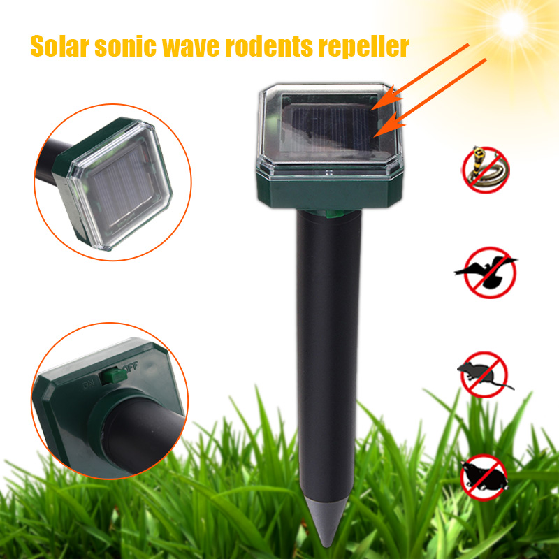 4PCS Solar Mole  Repellent Outdoor Garden Ultrasonic Mole Snake Bird Mosquito Mouse Ultrasonic Pest Repeller Control Garden Yard
