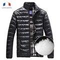 Langmeng 2015 hombres de la marca hacia abajo capa de la chaqueta de ropa de invierno cálido casual abajo cubre la moda hombres con estilo de la ropa super caliente 8 color