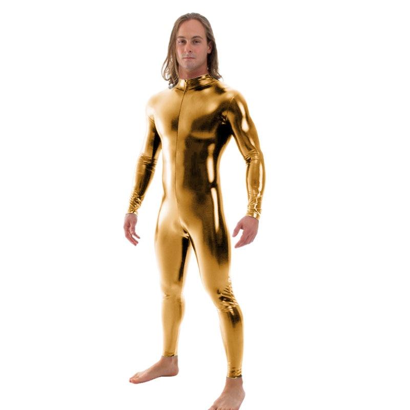 Ensnovo Men Latex Suit Black Shiny Metallic Tights Gold Zentai Suit Full Body Unitard Custom Skin Bodysuit Zipper Front tights