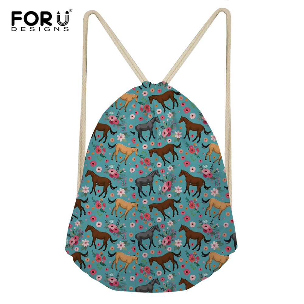 FORUDESIGNS Horse Printing Polyester School Bags Chicken Travel Portable Backpacks Bohemia Drawstring Bag For Women And Students