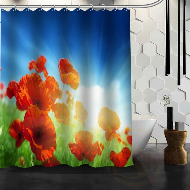 Best Nice Custom Poppies Flowers Poppy Shower Curtain Bath Waterproof Fabric For Bathroom MORE SIZE WJY34