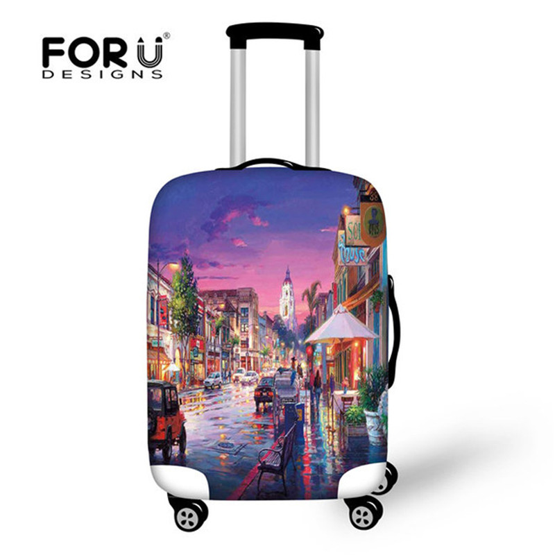 FORUDESIGNS Thick Elastic Luggage Protective Covers For 18-30 Inch Travel Case Suitcase Landscape Street Waterproof Dust Cover